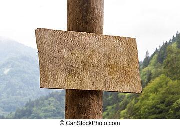 madeira, em branco, tábua, sinal