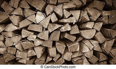 madeira, empilhado, fundo, neatly