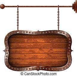madeira, envelhecido, signboard, metálico