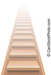 madeira, escadaria, céu