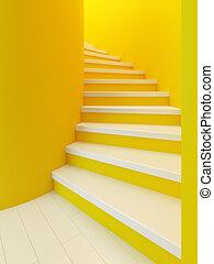 madeira, escadaria, espiral