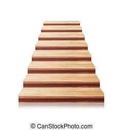 madeira, escadaria, vector., 3d, realístico, illustration., frente, vista., isolado, branco