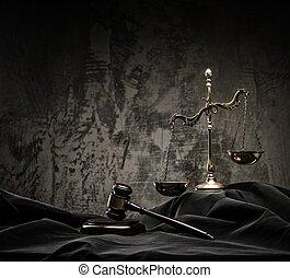 madeira, escalas, juiz, martelo, manto