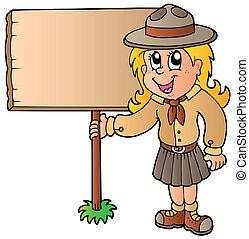 madeira, escoteiro menina, tábua, segurando