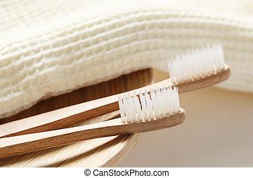 madeira, escova de dentes, toalha, closeup