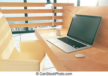 madeira, estilo, espaço trabalho, com, laptop, e, café assalta