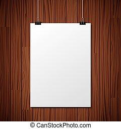 madeira, experiência., branca, papel, penduradas