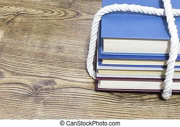 madeira, experiência., livros, pilha, amarrada