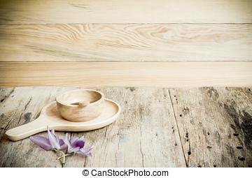 madeira, experiência., madeira, prato