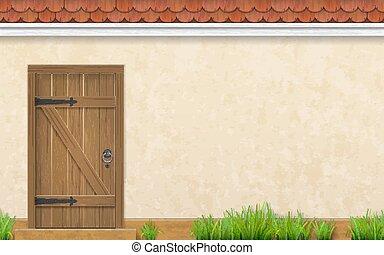 madeira, fachada, capim, antigas, porta