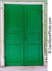 madeira, fechado, portas