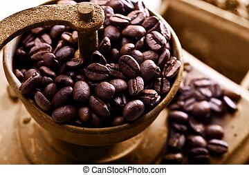 madeira, feijões, moedor café, coffe