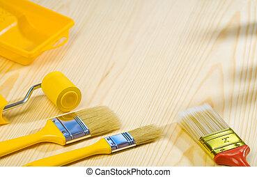 madeira, ferramentas pintura, placas