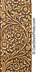 madeira, flor, esculpido