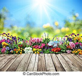 madeira, flores, jardim, escrivaninha