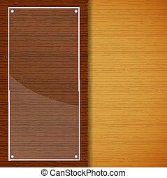 madeira, folheto, com, vidro, quadro