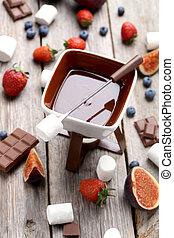 madeira, fondue, cinzento, chocolate, fresco, tabela, bagas