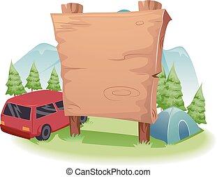 madeira, frente, tábua, acampamento, país