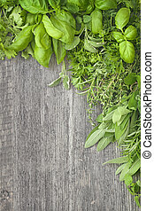 madeira, fresco, sobre, cinzento, ervas