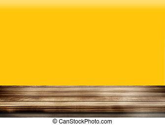 madeira, fundo amarelo