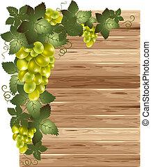 madeira, fundo branco, uvas
