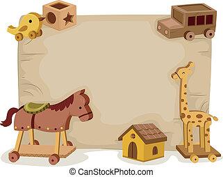 madeira, fundo, brinquedos
