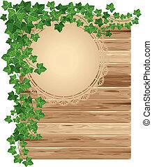 madeira, fundo, com, hera