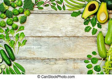 madeira, fundo, com, legumes verdes