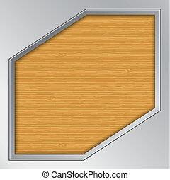 madeira, fundo, com, metálico, quadro