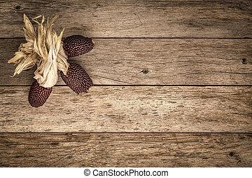 madeira, fundo, com, moranguinho, milho