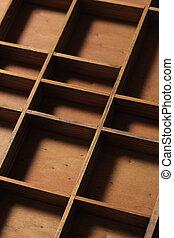 madeira, gaveta, vazio, compartimentos