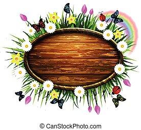 madeira, gramado, tábua