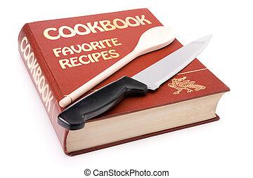 madeira, grande, colher, cookbook, faca, cozinha