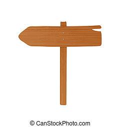 madeira, guideboard, feito, de, prancha, e, polaco, pregado,...