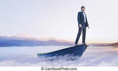 madeira, homem, jovem, bote, bonito