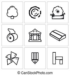 madeira, illustration., ícones, indústria, vetorial, produtos, set.