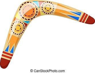 madeira, ilustração, caricatura, experiência., vetorial, boomerang., boomerang, branca, australiano