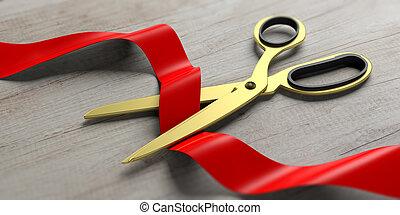 madeira, ilustração, experiência., corte, fita, tesouras, seda, vermelho, 3d
