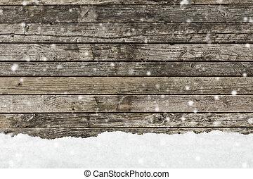 madeira, imagem, fundo, neve, cerca