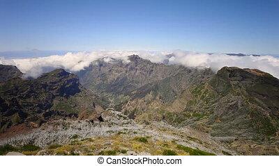 Pico do Arieiro to Pico Ruivo landscape timelapse in Madeira island, Portugal