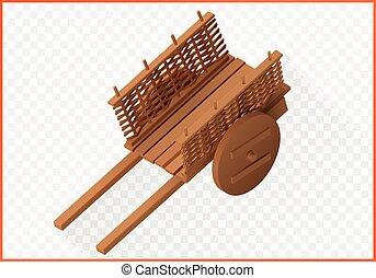 madeira, isometric, vetorial, carrinho de mão, 3d