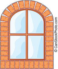 madeira, janela, ligado, parede tijolo