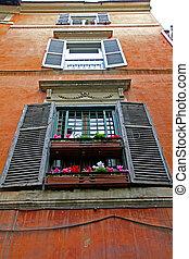 madeira, janelas, roma, fila