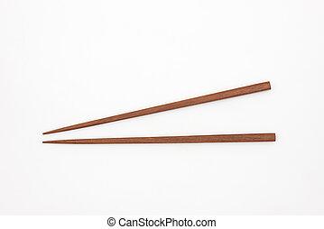 madeira, japoneses, tradicional, chopsticks, fundo, branca