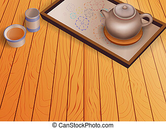 madeira, jogo, bule, chão