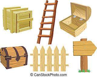 madeira, jogo, objetos