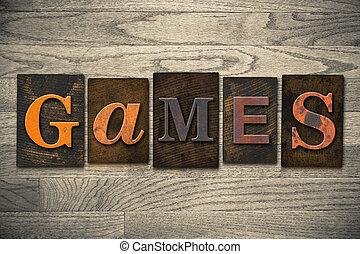madeira, jogos, conceito, tipo, letterpress
