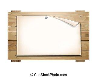 madeira, junta papel, em branco