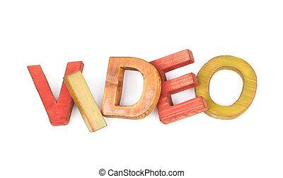 madeira, letras, feito, palavra, isolado