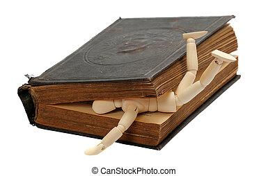 madeira, livro, antigas, capturado, boneca